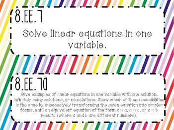 {FREEBIE} 8th Grade Math Common Core *Standards Posters* Rainbow Stripes