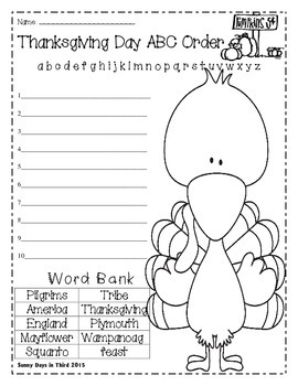 FREEBIE {THANKSGIVING ABC ORDER}