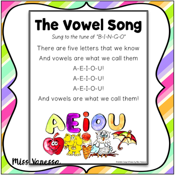 The Vowel Song ~ Printable Song Lyrics ~ Sing & Learn Music Fun!