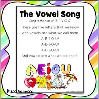 The Vowel Song Printable Lyrics