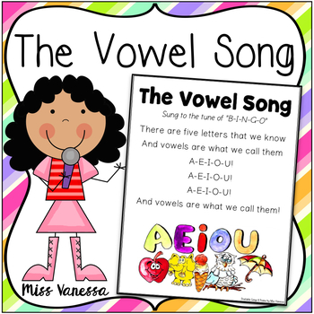 The Vowel Song ~ Printable Song Lyrics ~ Sing & Learn Thro