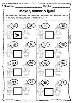 FREEBIE Acción de Gracias centros matemáticas. Thanksgiving Spanish 1st grade