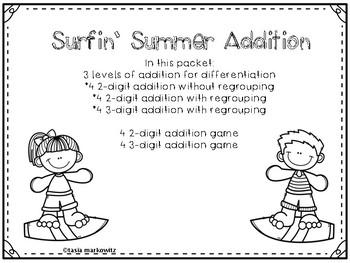 FREEBIE Adding 4 2-digit Numbers Surfin' Summer Addition