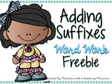 FREEBIE Adding Suffix -ed, -ing Literacy Center Word Work  RF.1.3