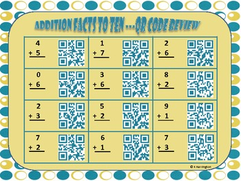 FREEBIE! Addition Facts to Ten QR Code Review