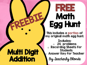 FREEBIE Addition Math Egg Hunt FREE Easter