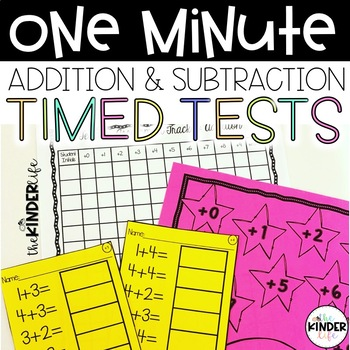 FREEBIE Addition & Subtraction One-Minute Timed Tests + Student Progress Posters