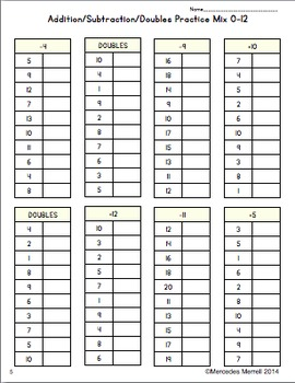 FREEBIE! Addition & Subtraction Practice Sheets, Speed Tests, Plus Doubles