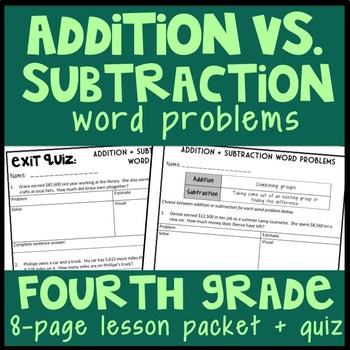 FREEBIE Addition vs. Subtraction Word Problems, 8-Page Lesson Packet ...