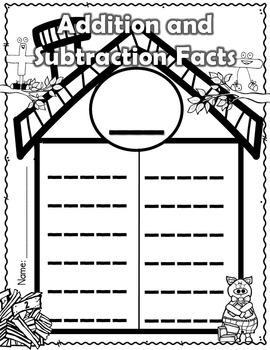 Addition and Subtraction Facts - Write and Wipe Mats