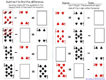 FREEBIE Addition and Subtraction Playing Card Theme Worksheets