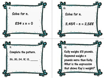 FREEBIE Algebraic Expressions Word Problem Task Cards