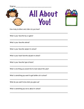 FREEBIE All About Me Questions