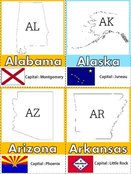 FREEBIE - All Across The 50 States Flash Cards