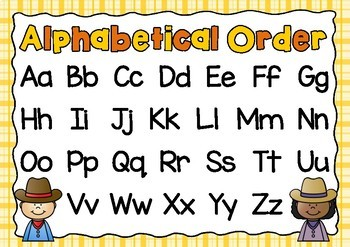 FREEBIE! Alphabetical Order Posters- Western Theme