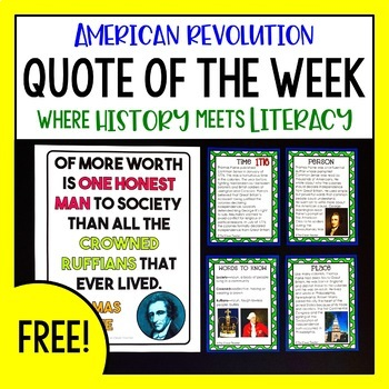American History Quote of the Week - Task Cards & Literacy Strategies FREE
