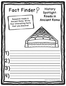 FREEBIE - Ancient Rome History Unit - Fact Finding Notebook Pages