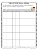 FREEBIE - Anecdotal Notes Recording Form for Reading Workshop