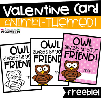 FREEBIE Animal-Themed Valentine by Education and Inspiration