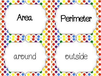 FREEBIE Area and Perimeter Key Word Sort Activity or Center 4.5D 5.4H 4.MD.A.3