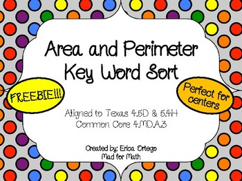 FREEBIE Area and Perimeter Key Word Sort Activity or Cente