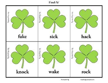 FREEBIE* St. Patrick's Day Articulation Sort: Final /t/ and /k/ Discrimination