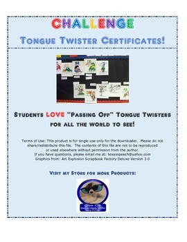 FREEBIE! Articulation Tongue Twister Challenge Certificates