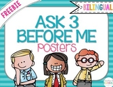 "FREEBIE ""Ask 3 Before Me"" Posters, Blue Stripes {Bilingual}"