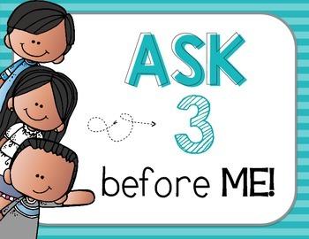 "FREEBIE ""Ask 3 Before Me"" Posters, Blue Stripes {Bilingual}"