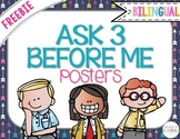 "FREEBIE ""Ask 3 Before Me"" Posters, Navy Blue {Bilingual}"