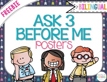 "FREEBIE ""Ask 3 Before Me"" Posters, Navy Blue {Bilingual}"