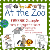 FREEBIE At the Zoo emergent reader decodable sight words m