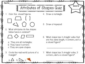 FREEBIE!!!Attributes of Shapes Quiz!!