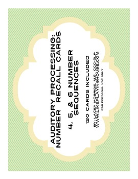 FREEBIE Auditory Processing: Number Recall Cards
