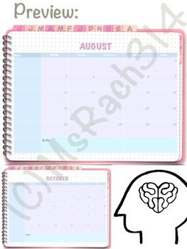 FREEBIE August 2019 - November 2019 (M-F) Digital Monthly Planner