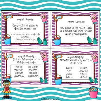 FREEBIE - August Summer Task Card Choice Board for Fast Finishers Free Sample