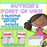 FREEBIE! Author's Point of View/ Perspective -True/False-Sorting Activity