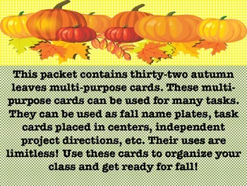 FREEBIE Autumn Task Cards and Nameplates