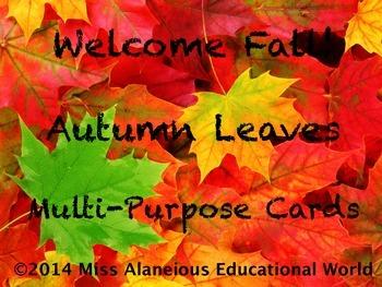 FREEBIE Autumn Task Cards and Nameplates
