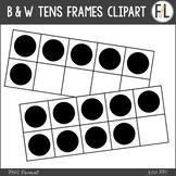 B & W Tens Frames Clipart