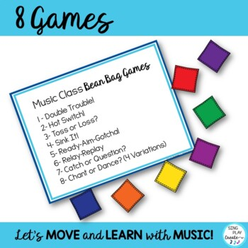Music Class Bean Bag Games-Assessment, Review, Brain Breaks