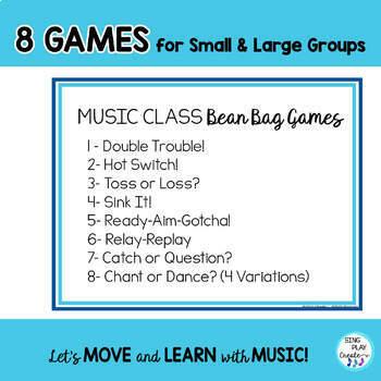 Music Class Bean Bag Games-Assessment, Review, Brain Breaks K-6