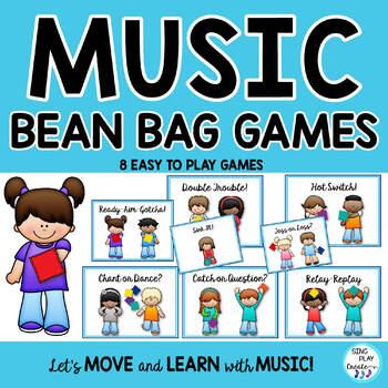 Music Class Bean Bag Games-Assessment, Review, Brain Breaks