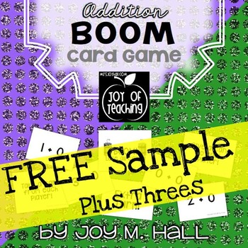 FREEBIE BOOM! Addition Facts Card Sample Game PLUS THREES