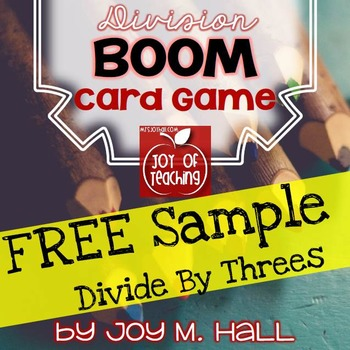 FREEBIE BOOM! Division Facts Card Sample Game DIVIDE BY THREES