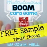 FREEBIE BOOM! Multiplication Facts Card Sample Game TIMES THREES
