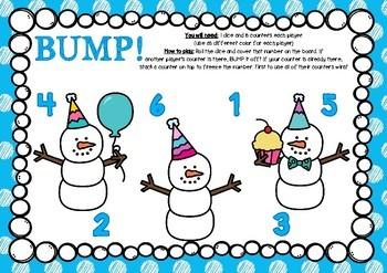 FREEBIE! BUMP! Snowman Party Game Board