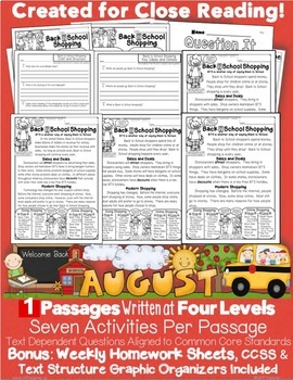 Back 2 School Shopping Informational Text  Close Read Level Passages/Activities