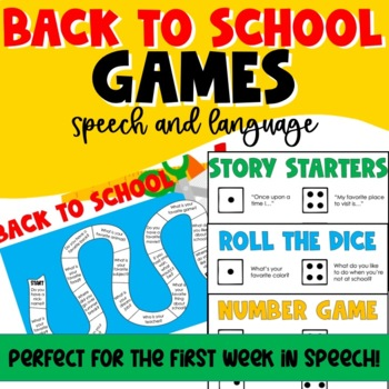 Back To School Activities for Speech Therapy