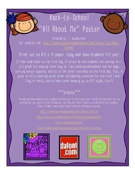 """{FREEBIE} Back-to-School """"All About Me"""" Posters"""